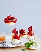 Champagne-poached strawberries with vanilla cream in glasses