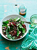 Lentil, beetroot and feta cheese salad
