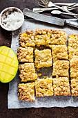 Mango and coconut crumble tart