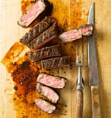 Beef steak seasoned with a coffee spice mixture