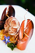 Steamed lobster with exotic fruit compote