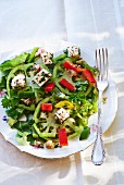 Pepper salad with sheep's cheese and herbs