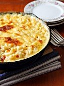 Baked macaroni and cheese in a baking dish
