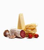 Salami, mushrooms, cheese, pasta and tomatoes