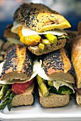 Vegetarian sandwich with roasted vegetables and cheese