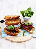 Bruschetta with roast lamb liver and bacon