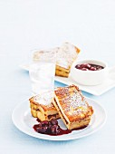 French toast with chocolate and cherry sauce