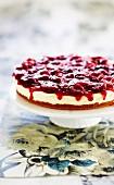 White chocolate cheesecake with vanilla cherries