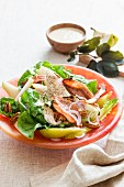 Autumnal salad with pears and nuts