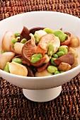 Mixed mushrooms with shallots and broad beans