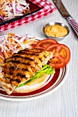 A grilled fish sandwich with pepper mayonnaise