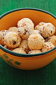 Apricot balls with grated coconut
