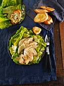 Caesar salad with grilled baguette