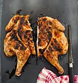 Roast chicken, halved