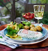 Fish terrine with potatoes and salad
