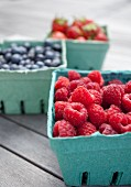 Fresh berries in green paper punnets