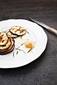 Grilled aubergine slices