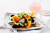 Cantaloupe melon and chicken salad