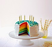 A rainbow layer cake