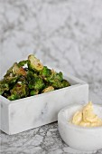 Fried Brussels sprouts with aioli