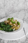 Green penne with pesto and spinach