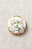 A slice of toast topped with radish quark and chives