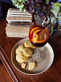 Parmesan and rosemary shortbread biscuits served with sangria
