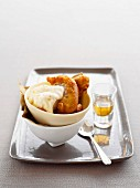 Apple fritters with ice cream and calvados