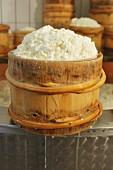 Montafoner Sauerkäse (Frischkäse) im Holzkorb in der Käserei