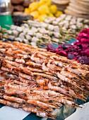 Prawns and other seafood at a market on Zanzibar