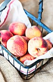 Peaches in an old blue, metal basket