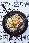 Soup with udon noodles and prawns (Japan)