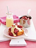 Stewed rhubarb on Madeira cake with vanilla sauce