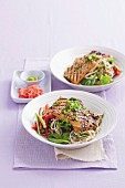 Sesame tofu with soba noodle salad