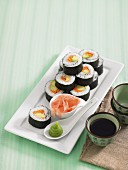 Nori maki with avocado and ham
