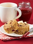Cranberry nut scones with butter