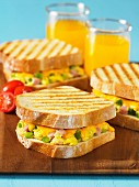 Toasted scrambled egg and cheese sandwiches