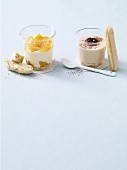 Peach cream with cantuccini and coffee cream with sponge fingers