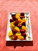 Marinated red and yellow beets