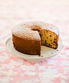 Chiffon cake, sliced, on a cake stand