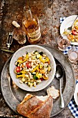 White bean salad with vegetables and herbs