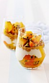 Peach and passionfruit yoghurt crunch