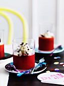 Blood-orange jellies with leche meregada