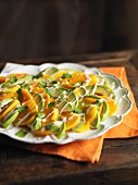 Persimmon salad with avocados