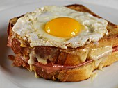 Croque Madame (toasted ham and cheese sandwich with egg)