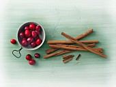 Cinnamon sticks and cranberries