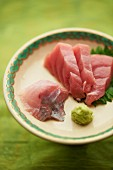 Sashimi on leaves with wasabi (Japan)