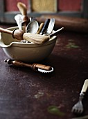 Various baking utensils in a bowl