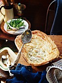 Red snapper and leek pie with green beans