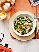 Lentil salad with smoked salmon
